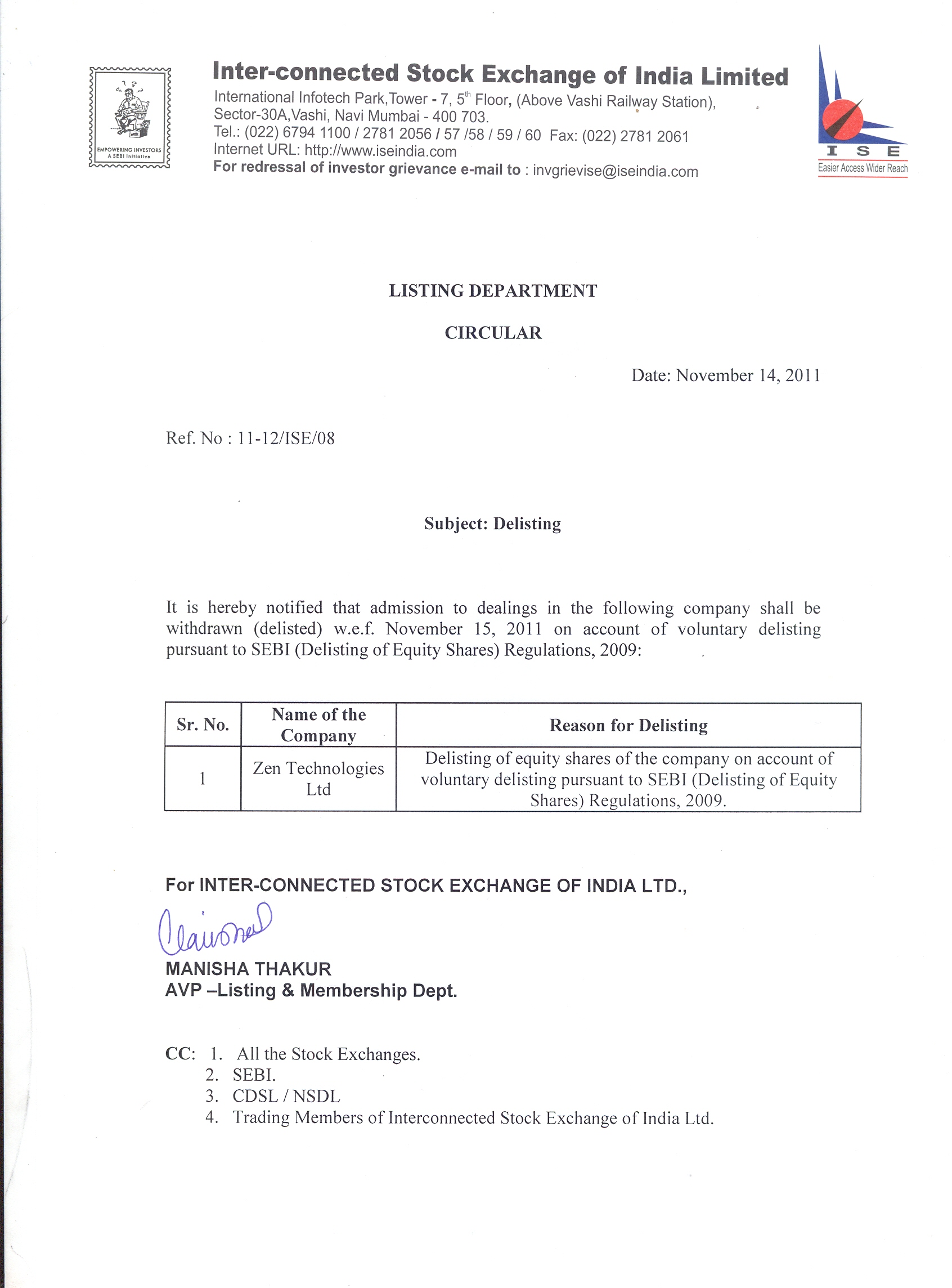 Inter Connected Stock Exchange Of India Ltd